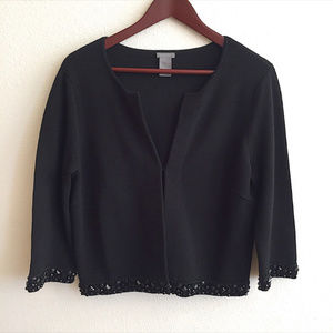 Ann Taylor Black Cardigan With Beads Detail